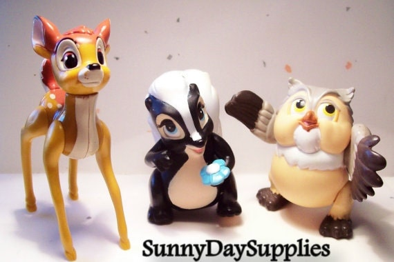 Viintage Mcdonalds Happy Meal Toys,  BAMBI Toys, Disney Characters,  Bambi, Owl and Flower, 1988 Toys,  3 in lot, CLEAN, Bambi Toys