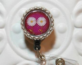 Retractable Badge Reel Bottlecap ID Badge Holder Teacher Lanyard Daisy Flower Plum