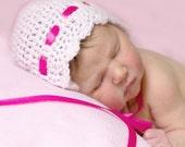Newborn Alpaca Baby Bonnet with Pink Ribbon Lacy