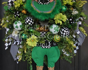 "PRE-ORDER for ""2017 Delivery-""St Patrick's Day Wreath-""St. Patty Leprechaun""  Petals & Plumes Original Design- (SOLD Out for 2016)"