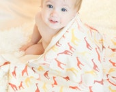 Organic Baby Giraffe Blanket - Tangerine, Rust and Golden Yellow Giraffes on Organic Interlock - Swaddle Blanket