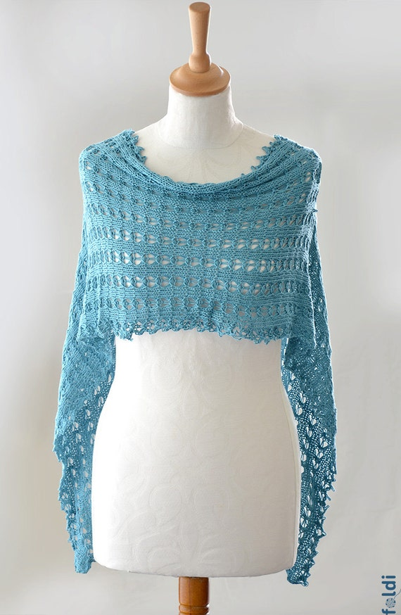 Knitted bamboo summer lace scarf shawl turquoise