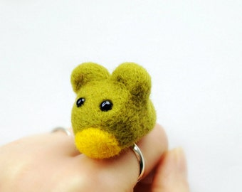 Green Felt Mouse Ring - Needle Felted Adjustable Animal Ring