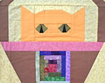 Log Cabin Cat Quilt Block Pattern
