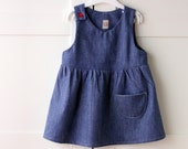 Girls' denim jumper. Pinafore jeans dress.  Eco sustainable italian 100% cotton. Sizes 1T to 4T.