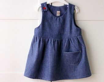 Girls' dresses, denim dress, girls' clothing, denim girls' dresses, girls' Japanese pinafore, pinafore dress. Sustainable clothing, Italy