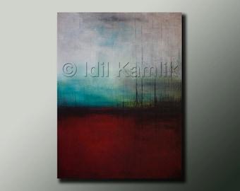 Original ABSTRACT Modern Landscape Seascape PAINTING Contemporary Fine Art by Idil Kamlik