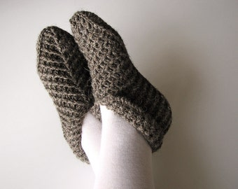 Crocheted Woolen Slippers / Socks - 100% Natural Organic Wool - Home Comfort - Small Size
