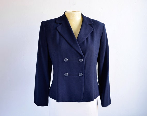 1980s Double Breasted Cropped Navy Blazer