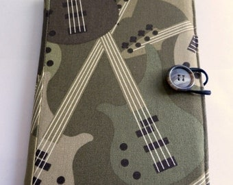 Kindle, Nook, Kobo E-Reader Cover/Book in Camo Green and Brown Electric Guitar