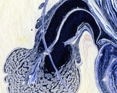Abstract, Blue and White Swirls and Spots no. 10, Fine Art Marbling Print
