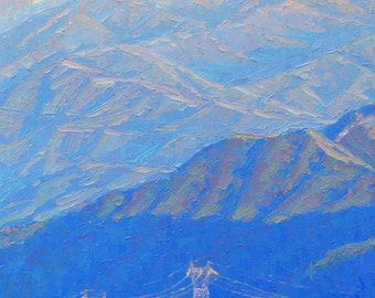 Beyond Mt. Wilson, California Landscape Painting, oil on canvas, Palette Knife Painting by Elena Roché