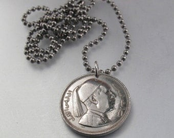 COIN JEWELRY necklace . arab. arabic . Kingdom. middle east. millieme. chain. mens. vintage. No.001169