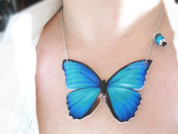Teal Jewelrly Blue Turquoise Butterfly Necklace for Her Large Pendant