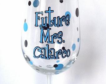 Bachelorette wine glass, Polka dot personalized Future Mrs. wedding wine glass, ice blue and black