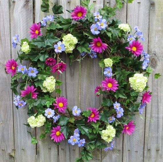 Front door wreath colorful summer wreath by hornshandmade for Colorful summer wreaths