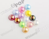 100 - MIXED Colors AB Pearl Flatback Resin Decoden Cabochons, Half Pearl Cabochons, Flat Pearls, Flat Back Pearls,  8MM (R4-059)