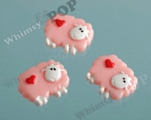 3 - Kawaii Pink Sheep Flatback Cabochons, Decoden Resin Flatback Cabochons, Sheep Cabochons, 20mm x 25mm (R5-099)