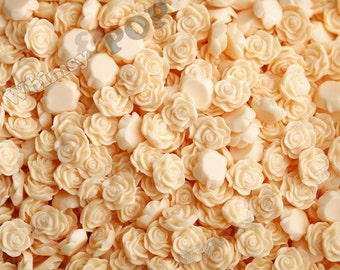 Peaches and Cream Flower Cabochons, Flower Cabs, Rose Shaped, 13mm (R1-048)