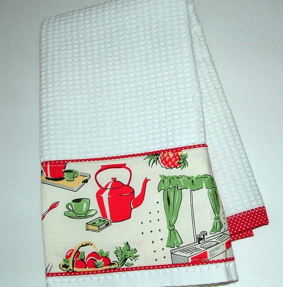 RETRO Kitchen TOWEL Vintage STOVE Print By AVintageLook On