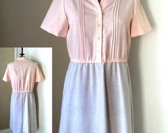 80's Pink and Blue Linen Dress D54