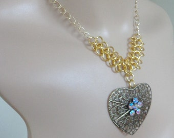 Handmade Chainmaille Heart  Necklace in Gold Tone