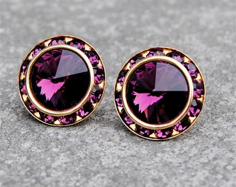 Amethyst Purple Rhinestone Stud Earrings Swarovski Amethyst Earrings Purple Bridesmaid Earrings Sugar Sparklers Mashugana
