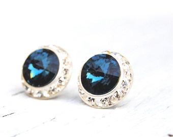 Navy Blue Bridesmaids Earrings Swarovski Crystal Diamond Rhinestone Stud Earrings Nautical Wedding Beach Wedding Sugar Sparklers Mashugana