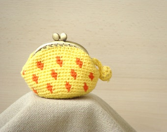 Framed coin purse crochet  yellow orange polka dots kisslock purse, dotted small coin purse, crochet wallet