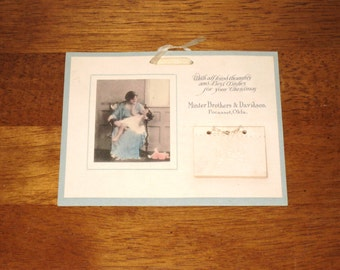 1922 Miniature Advertising Calendar / Hand Tinted Photo Of Mother & Child