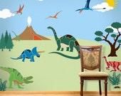 Dinosaur Wall Mural Stencil Kit for Boys or Baby Room (stl1012)
