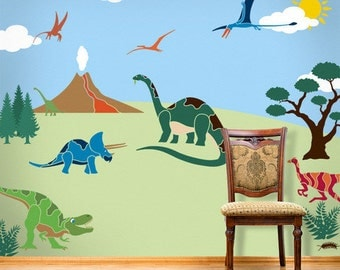 Dinosaur Wall Mural Stencil Kit for Boys or Baby Room (stl1012)