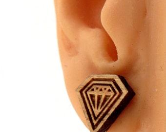 Diamond Soul Sustainable Wooden Post Earrings - Oak  Wood Studs