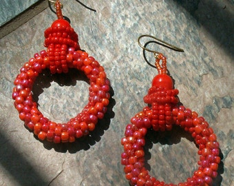 Earrings, Beaded Hoops in Orange