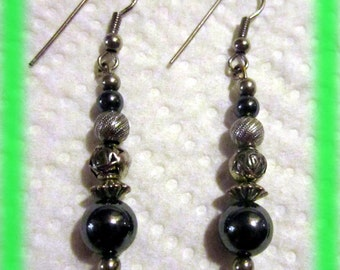 Silver and Hematite Earrings 03