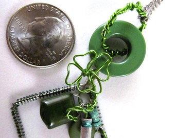 Green Wire Shamrock & Computer Parts Necklace