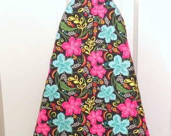 Ironing Board Cover - Floral fabric in pink, aqua blue, yellow and green - Laundry and Housewares