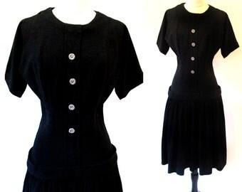 Vintage 50s Black Dress,  Drop Waist Dress, 1950 Wool Dress