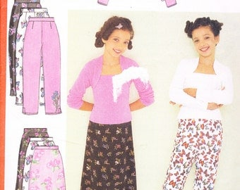 Butterick 6565 Sewing Pattern Girl's Pants Skirt Top and Shrug Sizes 12-14-16 Breast 30-32-34""