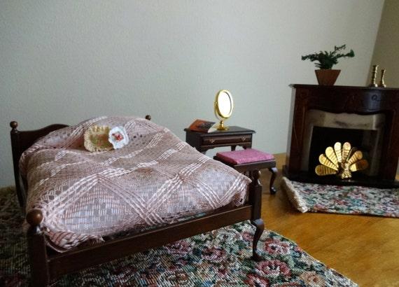 Vintage miniature 18 piece dollhouse master suite bedroom set - 1/12 scale