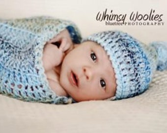 "Newborn Crochet Pattern: ""Sweetpea's Hat & Wrap""  Newborn beanie, Newborn Swaddle, Photo Prop"