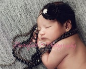 Baby Girl Black Flower Headband with Feathers and Rhinestones..Black Flower Headband For Girls..Black Fabric Headband..Black Feathers