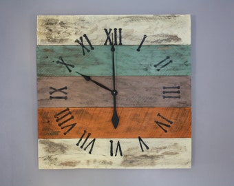 Large Wall Clock, Beach House Style,  Reclaimed Pallet Wood CUSTOM paint color or finish.