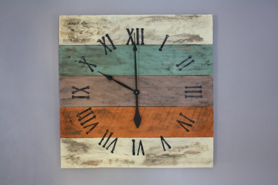 Large Wall Clock, Beach House Style, Reclaimed Pallet Wood CUSTOM paint  color or finish - Large Wall Clock Beach House Style Reclaimed Pallet Wood