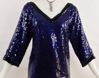 Vintage YVES SAINT LAURENT rive gauche Sequins Navy Blue Black Trim Tunic Evening Chic Sz 34 Street Stye Fashion Week