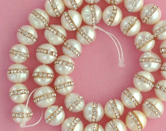 2 Large Freshwater Pearls with Rhinestone Accents, wedding pearls . about 10mm  gpe0017