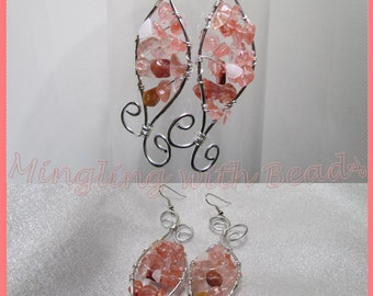 Pink chip bead wire wrapped earrings