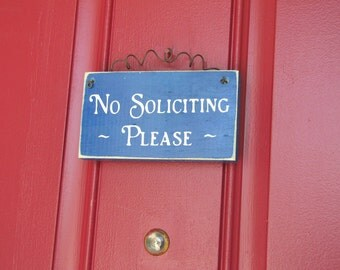 READY TO SHIP  No Soliciting Please Wood Primitive Door Sign