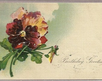 Bouquet of Red Pansies Birthday Greeting Card  Red Pansy Vintage Postcard - 1903 German over 100 Years Old!