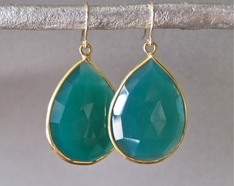 Large Green Onyx Drop Earrings
